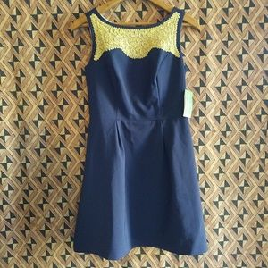 Lily Pulitzer Navy Emmy Dress with Gold Soustache